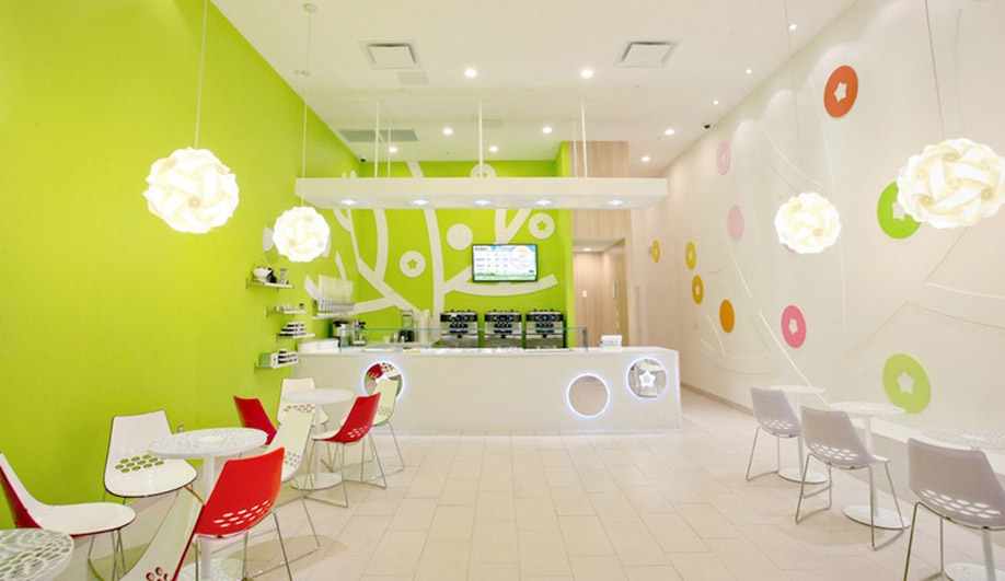 A brilliant interior for a yogourt shop