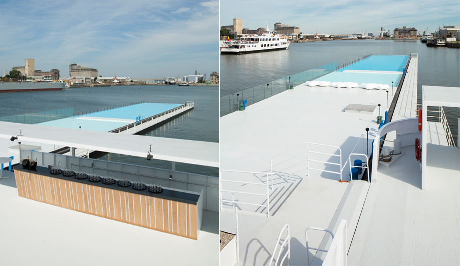 Worlds largest floating pool opens in Antwerp 01
