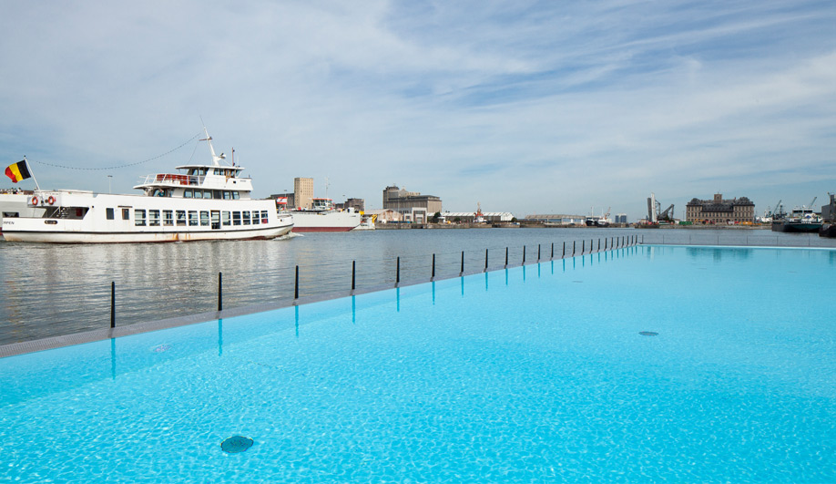 Worlds largest floating pool opens in Antwerp 02