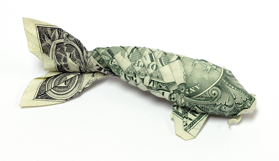 Made of money azure magazine for Dollar bill origami fish