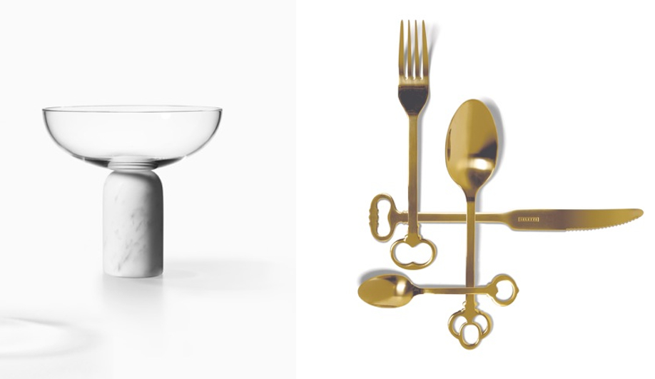 Lee Broom's vessels, left; and Alessandro Zambelli's invitation to the event, right