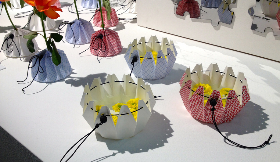 Made of paper, these Origami Vases by Yoshikawa Tsuyoshi can hold water.