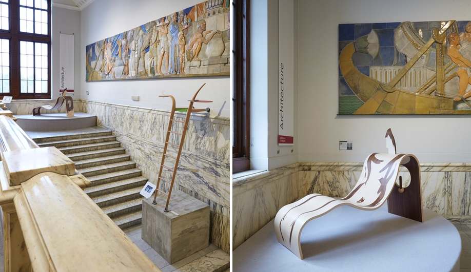 Left, Zenia Moseley's ladder for father-son duo Richard and Ab Rogers; right, Lola Lely's chaise for Allen Jones