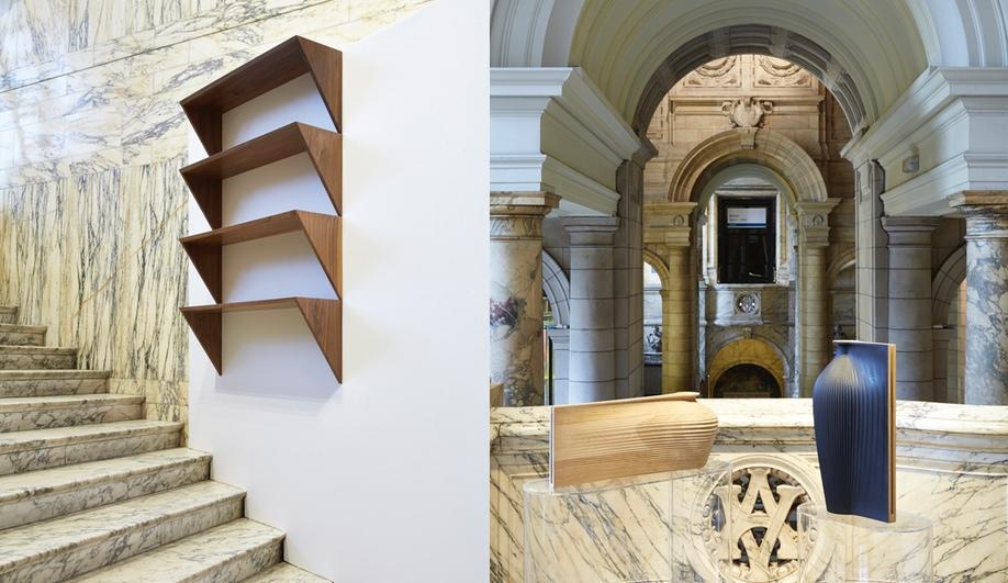 Left, Studio Areti's shelves for John Pawson; right, Gareth Neal's oak vessels for Zaha Hadid