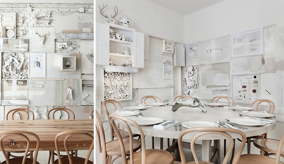 A bone white restaurant interior in mexico azure magazine