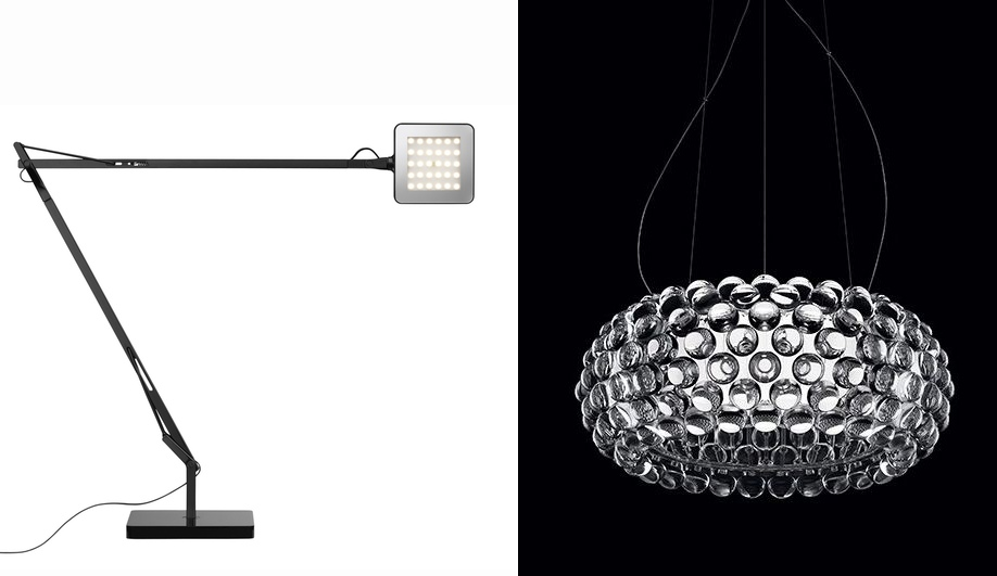 Left, Kelvin task light by Flos; Right, Caboche by Foscarini. Both come in LED versions.
