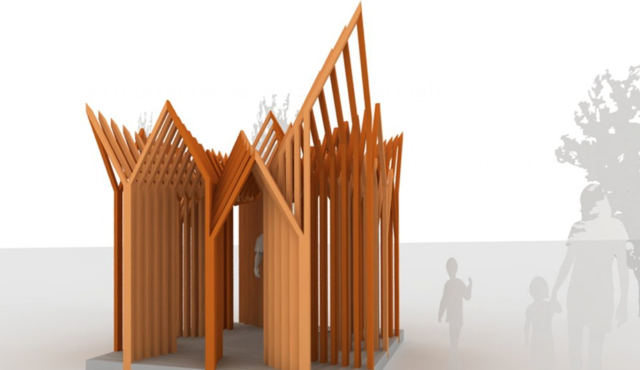 The Twelve-Sukkah, by Yong-In Kim, Nicolas Vernoux-Thélot and Moonyong Jeong of Paris, France.