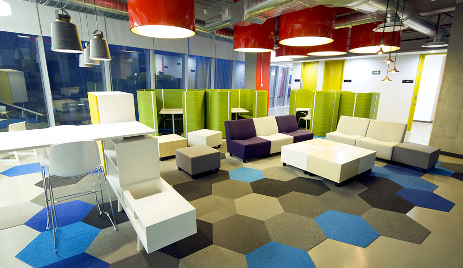 creating office work play. Studio O+A Used Bright Colours To Enhance The Creative Atmosphere In Online Development Offices For Capital One. Creating Office Work Play