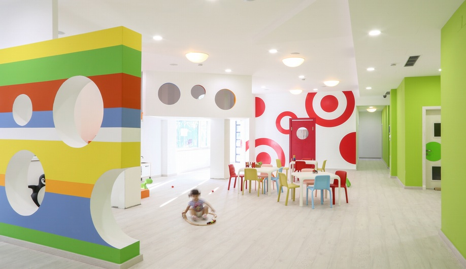 Classroom Design For The Blind ~ A playful kindergarten interior in albania