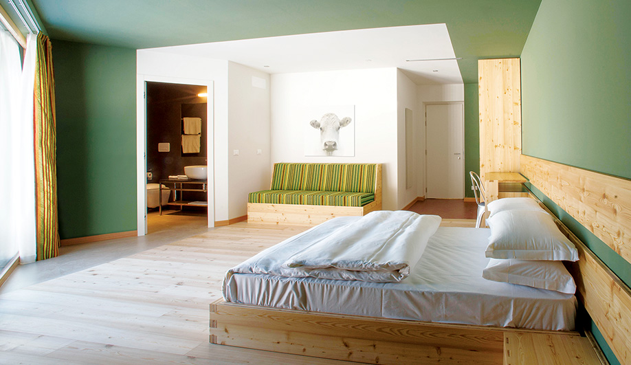 Moss green walls and earth-tone accents contrast with the raw larch used for the custom furnishings.