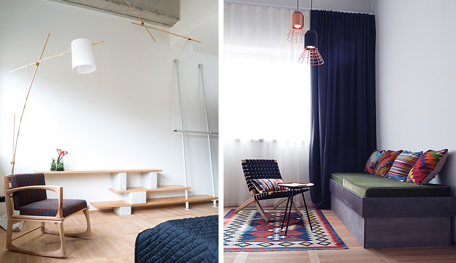Left: Cathal McAteer, founder of Folk clothing (and Jäger's brother-in-law), designed all of the furnishings for his room, including a hickory lamp, the shelving unit and an oak chair. Right: colourful wool  kilim pillows on a  custom daybed in Beck's room recall his travels to Turkey, Morocco  and India.