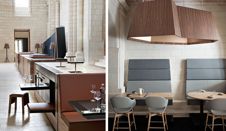 Left: a modular island in the ibar features various seating configurations and touch screen tabletops. Right: custom furnishings and a palette of neu­tral tones har­monize the design.