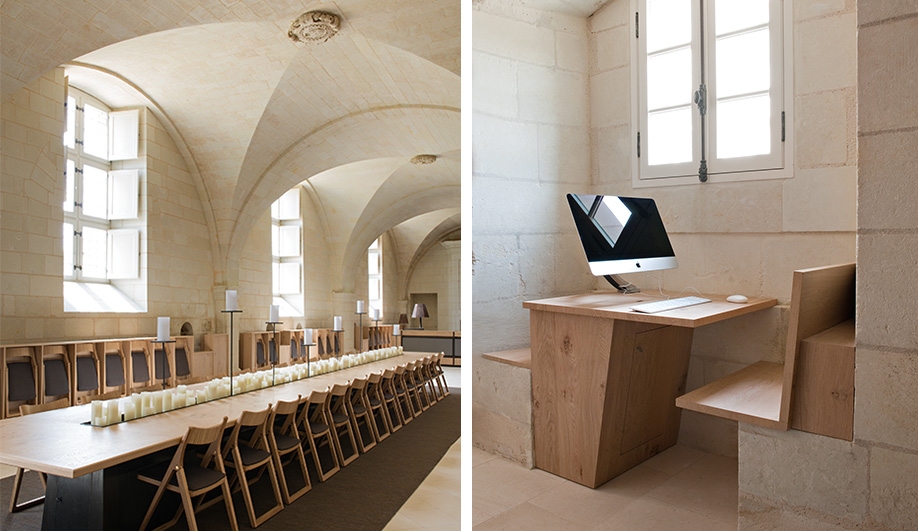 Left: an oak table sur­rounded by fold­ing chairs was inspired by the history of the monastery, which once lodged 1,000 monks and nuns. Right: additional elements had to be inserted without damaging the heritage site.