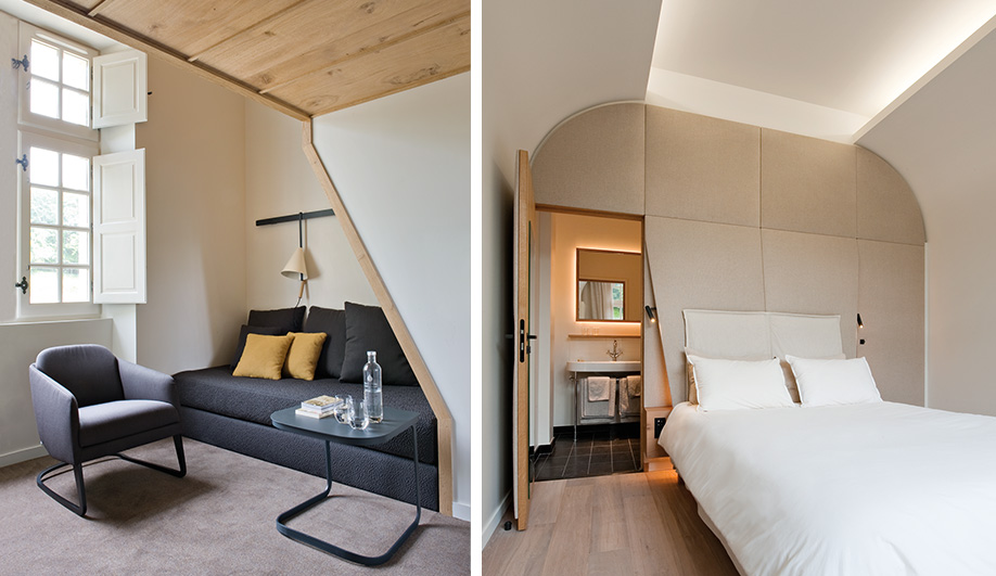 Left: each bedroom was fitted with furnishings and light fixtures designed for the hotel. Right: fabric wall panels and indirect lighting