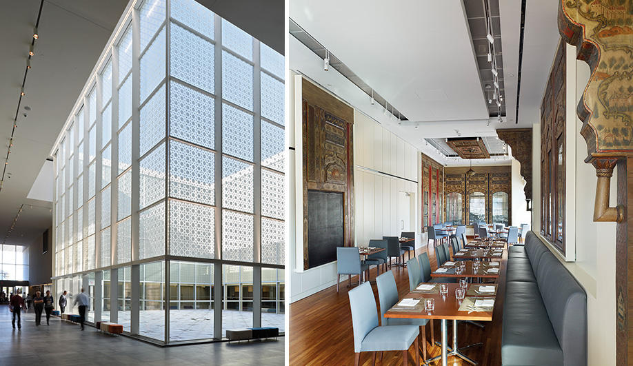 Left: The atrium serves as the museum's central organizing feature, with curtain walls etched in an islamic-­inspired mashrabiya pattern. Right: The museum's Diwan restaurant serves persian food.