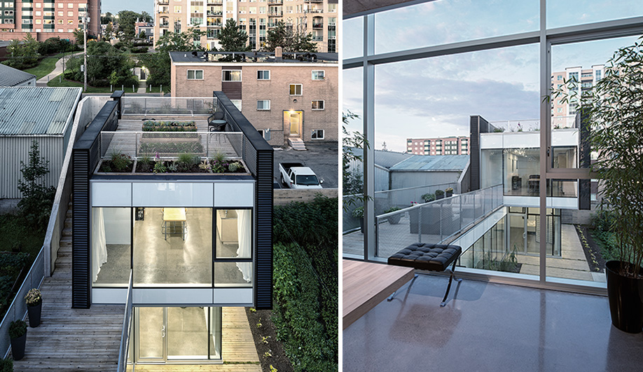 Left: Linear volumes and a flat roof fit in with the shingle box style of the mixed-used neighbourhood. Right:  Fully glazed walls overlook the courtyard, providing light and passive heat during the day.