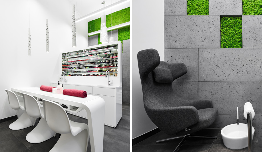 Moss and concrete define this salon in krakow azure magazine for Moss hair salon