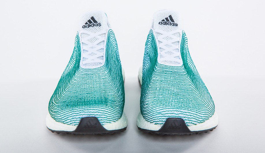 A concept shoe by Adidas made from deep-sea gillnets gathered off the coast of West Africa.