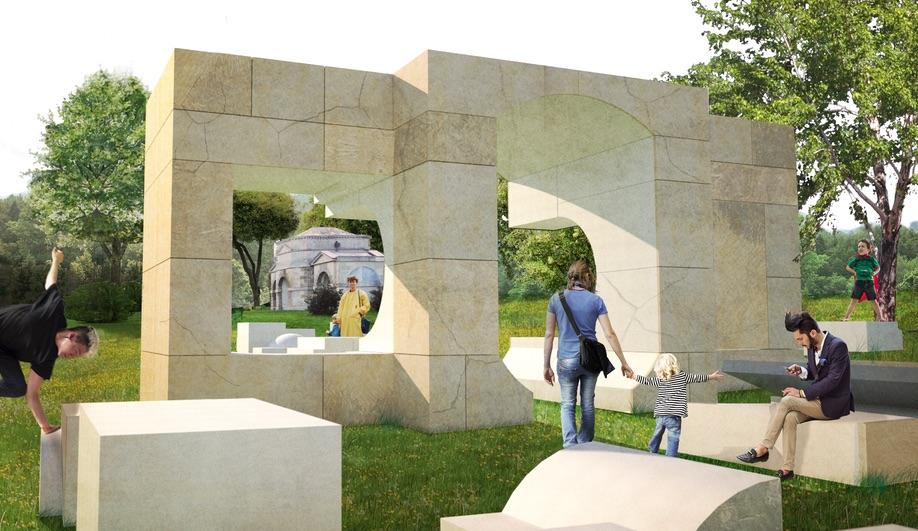 Concept renderings of Kunye Adeyemi's 2016 Serpentine House.