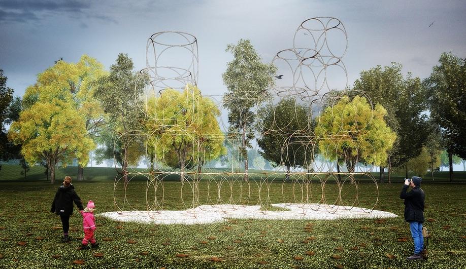 Concept renderings of Yona Friedman's 2016 Serpentine House.