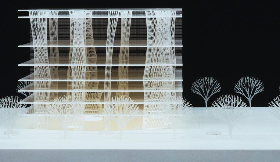 Acrylic model of Sendai Mediatheque in Miyagi, Japan, by Toyo Ito & Associates, Architects