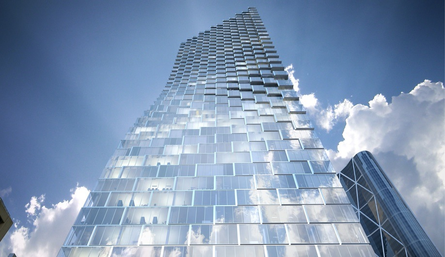 Concept image of BIG's Telus Sky Tower project in Calgary