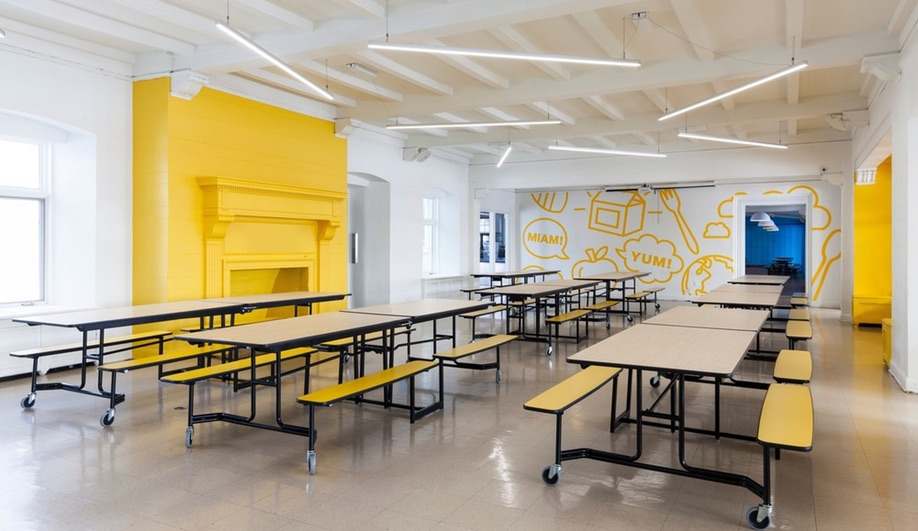 Modern Elementary Classroom Furniture ~ A colourful modern elementary school in quebec azure