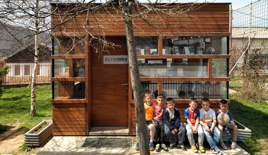 Bujar Nrecaj Architects designed the Bunateka Libraries across Kosovo and built them from 2009 to 2012, to provide books for disadvantaged youth.