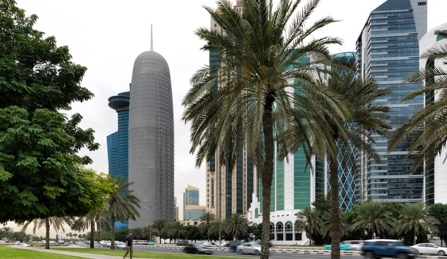 Doha Tower, in Doha, Qatar, was designed by Ateliers Jean Nouvel with an exterior envelope inspired by the mashrabiyya. It was completed in 2012.