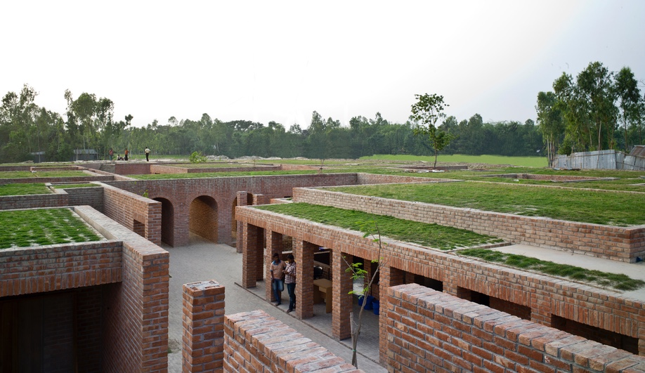 Friendship Center, in Gaibandha, Bangladesh, was designed by Kashef Mahboob Chowdhury / URBANA and completed for the Friendship NGO in 2011. It is a rural training centre inspired by one of the country's oldest urban archeological sites.