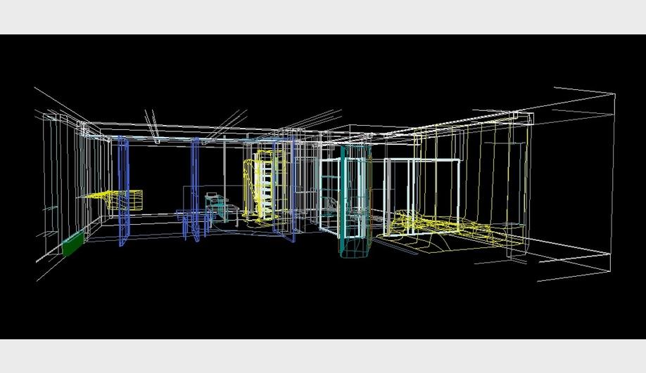Kolatan/Mac Donald Studio, O/K Apartment: Screen capture of a 3D Microstation model, 1995. AP185 KOL/MAC records, Canadian Centre for Architecture, Montreal. Gift of KOL/MAC. © KOL/MAC