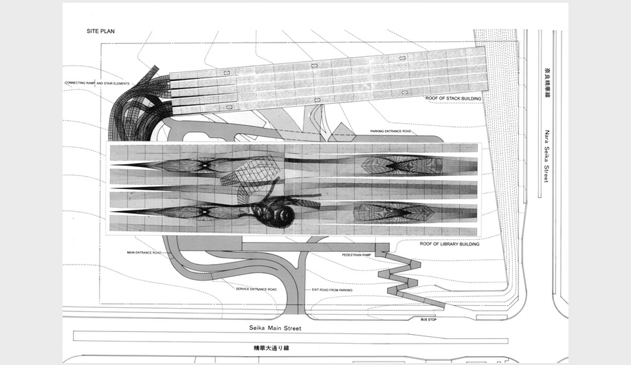 Reiser + Umemoto, Kansai National Diet Library (competition): Site plan, 1997. AP177 RUR Architecture records, Canadian Centre for Architecture, Montreal. Gift of RUR Architecture. © RUR Architecture