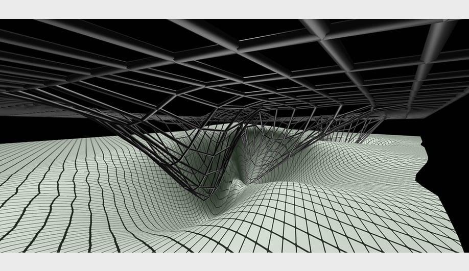 Zaha Hadid Architects, Phaeno Science Center: Space frame, 2001. AP195 Zaha Hadid records, Canadian Centre for Architecture. Montreal.Gift of Zaha Hadid Foundation. © Zaha Hadid Foundation