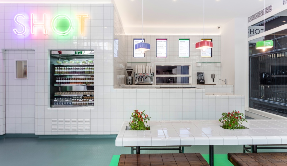 Wall-To-Wall Tiles Animate a London Health Food Spot