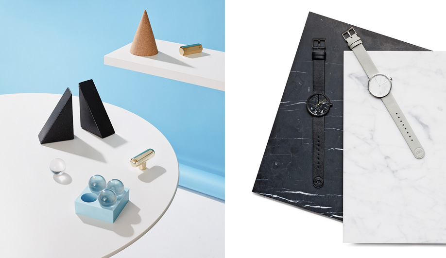 Left: Their first collection included solid brass paperweights, and they've since created many desk accessories, such as the Cork Cones now made by Wrong for Hay. Right: The Marble watch, from Aãrk Collective, features a thin layer of real stone.