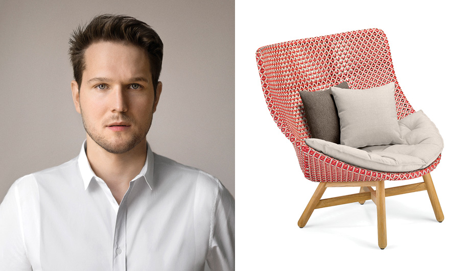 Image of Sebastian Herkner (left) and his Mbrace chair, for outdoor furniture brand Dedon (right)