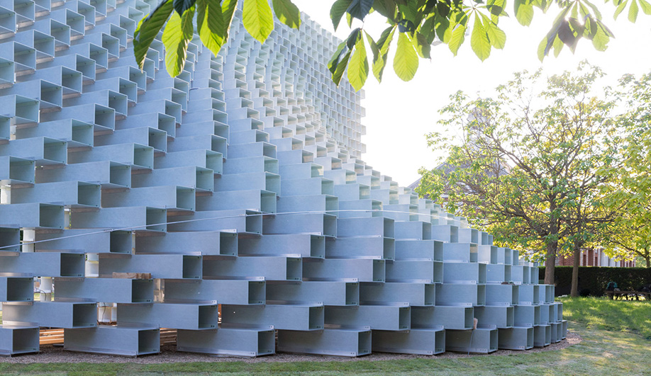 The curvature of the Serpentine Gallery Pavilion is best observed at an angle.