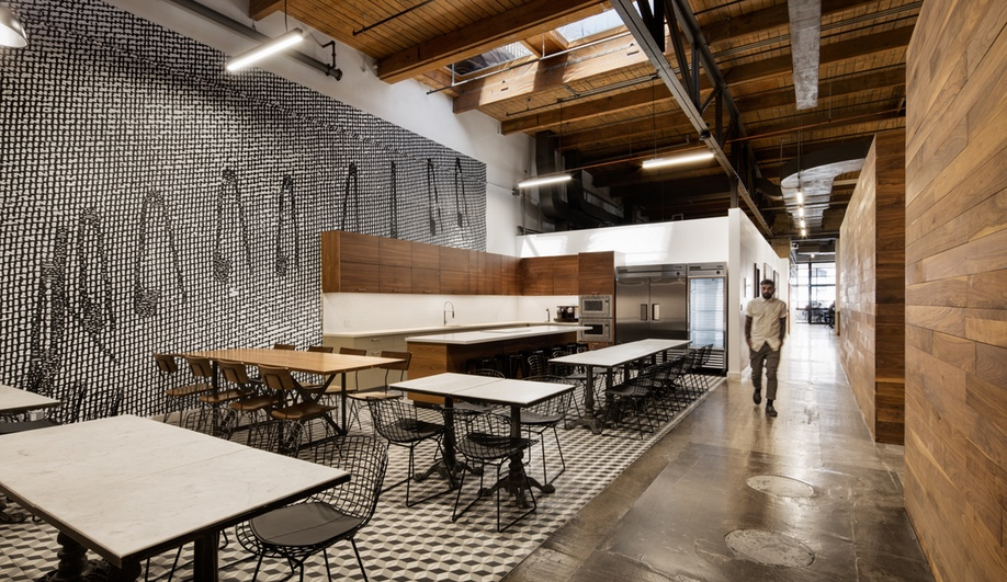 The kitchen and eating area at the Toronto VICE headquarters