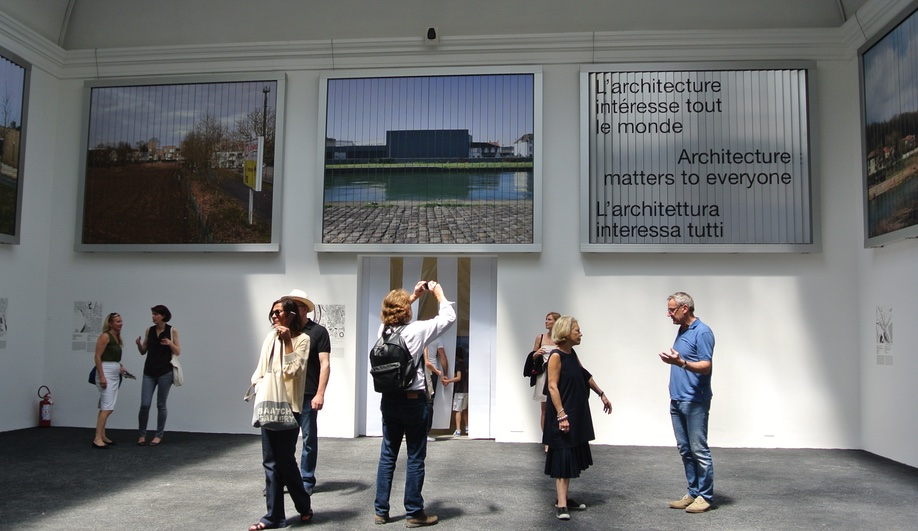 Visitors at New Riches, the French pavilion at the 2016 Venice Architecture Biennale
