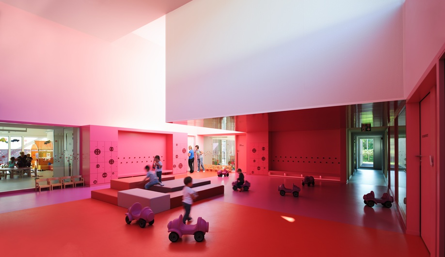 Nursery School Design, Elevated: A Double Height Hall In Shades Of Pink.