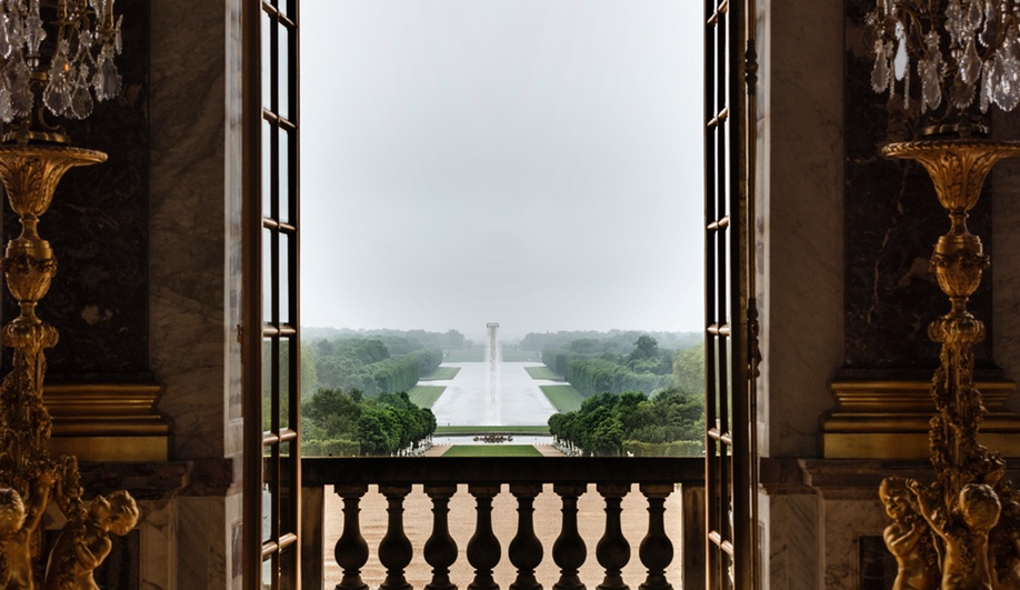 Waterfall, an installation from Eliasson's Versailles, as seen from inside the palace.