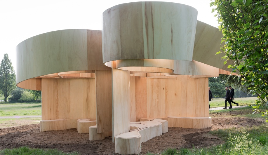 Barkow Leibinger's curled wood structure, for the 2016 Serpentine Gallery Pavilion and Summer Houses