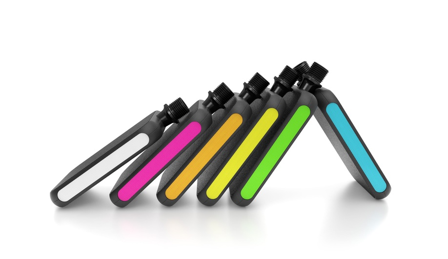 Cool bike accessories: the Moto Flex pedal has improved grip and a touch of colour.