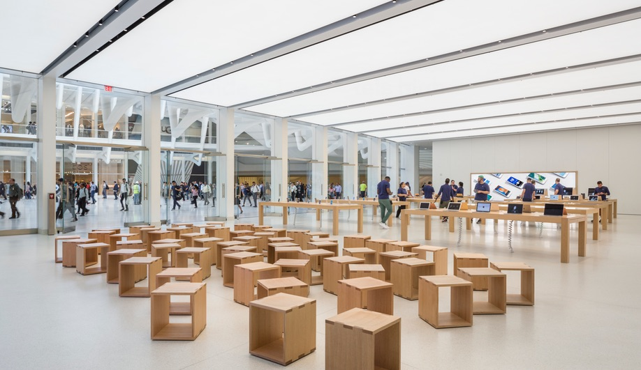 The new Apple store inside New York's World Trade Centre Transportation Hub, with interiors by Bohlin Cywinski Jackson