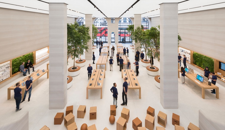 The new Apple store on London's Regent Street, with interiors by Foster + Partners
