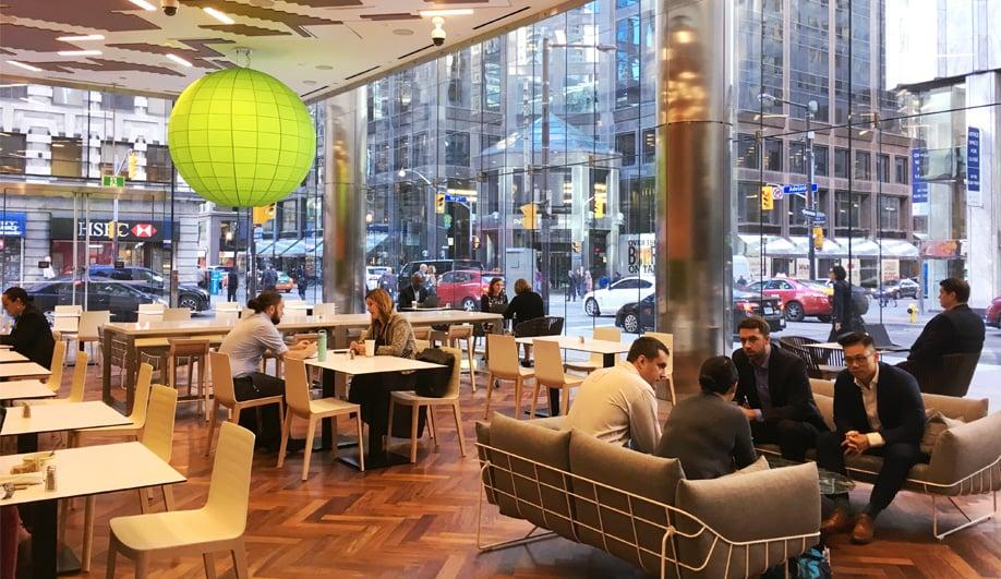 Deloitte's new street-side café in Toronto.