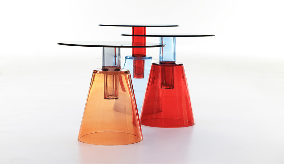 Ilia, coloured glass coffee tables, designed for Enne and launched at Maison et Object in 2015
