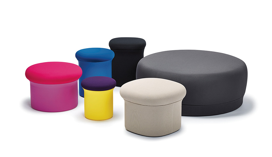 DOKO, 2016 – Designed by Ayako Takase and Cutter Hutton from the Rhode Island firm Observatory Studio, Doko is a colourful line of mushroom-shaped ottomans and pouffes. The playful form is intended to impart an easy informality.