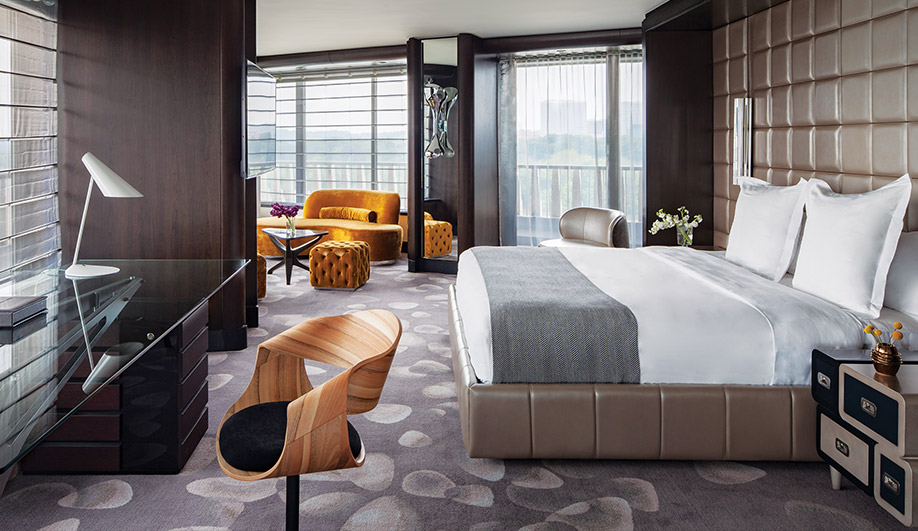 Two presidential suites play up the hotel's 1960s heritage. Sinu desk chair by Eclectic Contract, and sofas by Roche Bobois.
