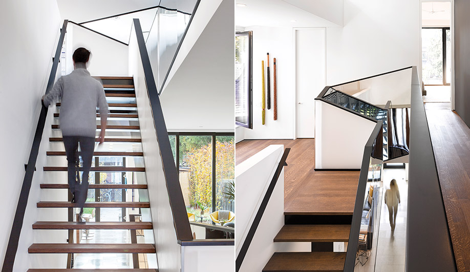 Left: The open-tread staircase is at the centre of the house. Right: One of the two south-facing window bands above the stairwell. Its clerestory position lets in the sun, while the mirrored stairwell refracts the light down to the lower levels.
